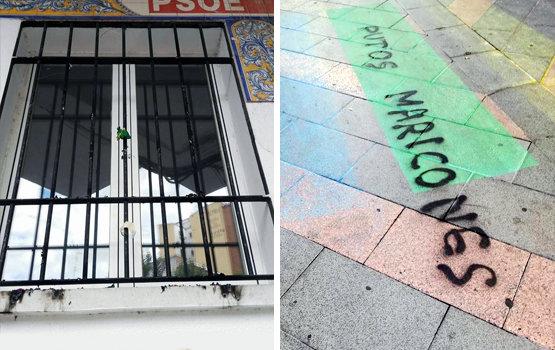 Restos de la bandera en la sede del PSOE y pintadas en el paso de cebra   Facebook